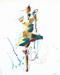 Ash Almonte: Blue Brown and Teal Figure