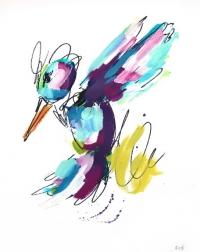 Ash Almonte: Purple Blue and Green Hummingbird