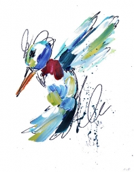 Ash Almonte: Green Light Blue and Red Hummingbird