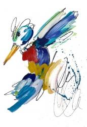 Ash Almonte: Golden Teal Splatter Hummingbird