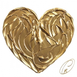 Cynthia Coulombe-Bégin: Gold Heart On White No.1