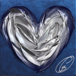 Cynthia Coulombe-Bégin: Silver Heart On Blue No.1